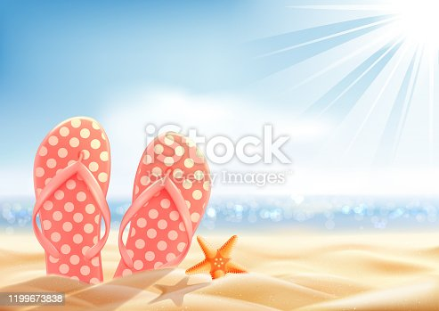 Summer holiday background, vacation on a sunny beach, polka dot flip-flop and starfish on the sand, vector illustration.