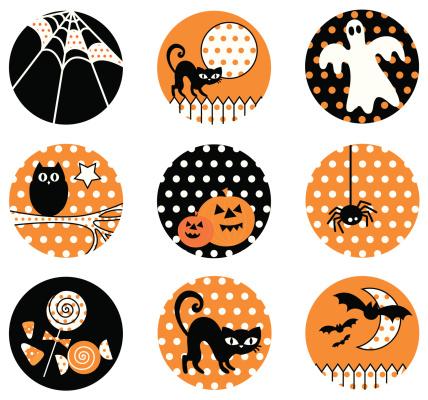 Polka Dot Halloween Icon Set