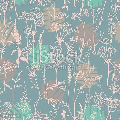 istock Polka dot mixed with botanical plants seamless pattern. 1223660719