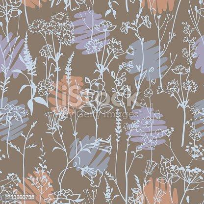 istock Polka dot mixed with botanical plants seamless pattern. 1223660738