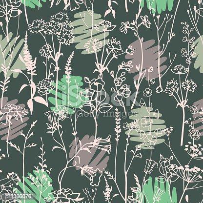 istock Polka dot mixed with botanical plants seamless pattern. 1223660761