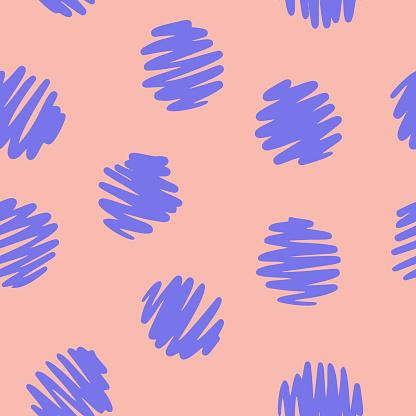 Polka dot seamless pattern. Decorative hand drawn circles. Simple graphic background.