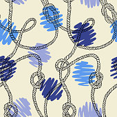 Polka dot seamless pattern. Decorative hand drawn circles with twisted ropes. Nautical ornament.