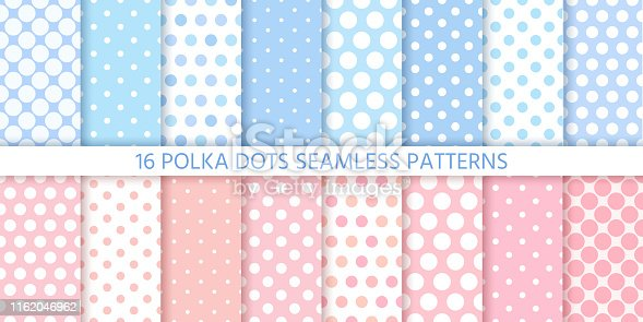 Polka dot pattern. Seamless background in circle. Vector. Set cute baby textures. Blue pink pastel childish textile print for invitation, template card, birth party, scrapbook. Flat illustration.
