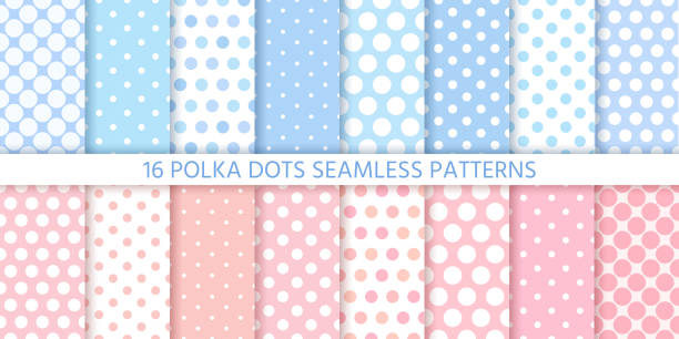 Polka dot seamless pattern. Vector illustration. Geometric background. Polka dot pattern. Seamless background in circle. Vector. Set cute baby textures. Blue pink pastel childish textile print for invitation, template card, birth party, scrapbook. Flat illustration. polka dot stock illustrations