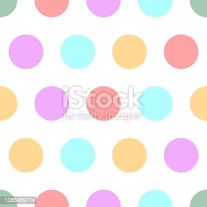 istock Polka dot seamless simple pattern with colore circles 1283489774