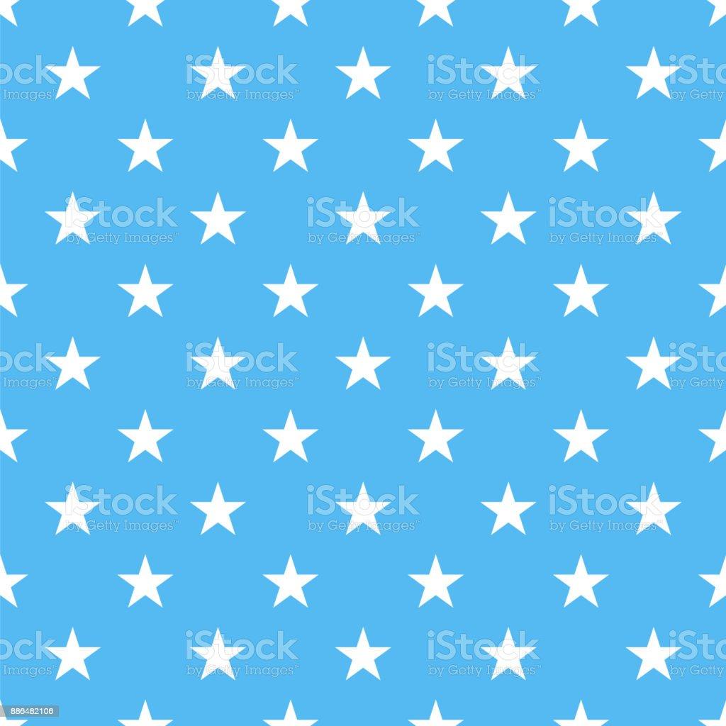 青の背景に水玉シームレス ホワイト星 - お祝いのベクターアート素材や