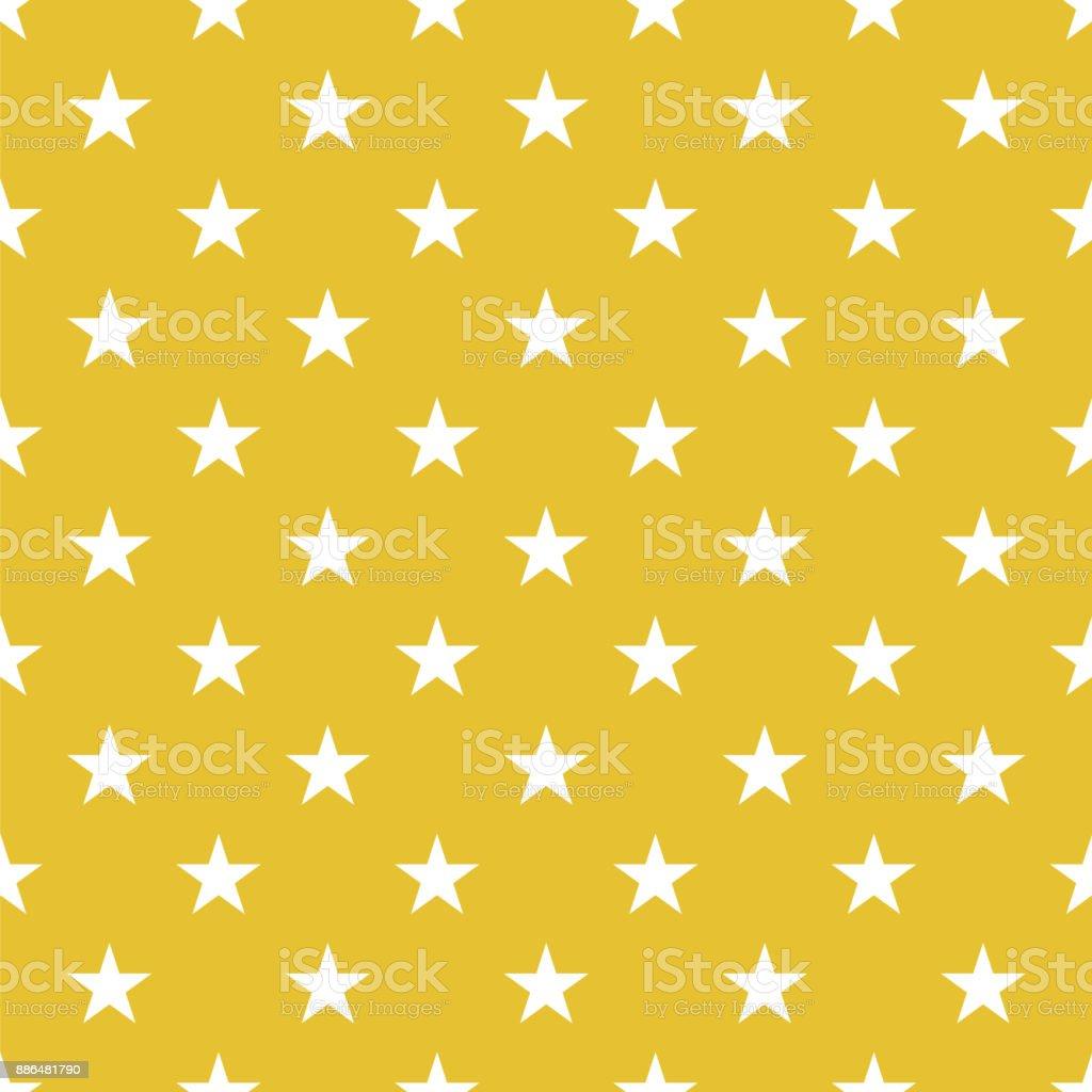 ゴールド背景の水玉シームレスなワイト星 - お祝いのベクターアート素材