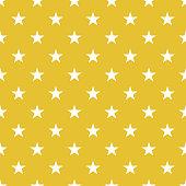 Polka dot seamless - Wite stars on gold background