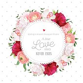 Polka dots pattern with floral vector design round card. White and burgundy red peony, pink roses, ranunculus flowers, orchid, mix of green plants. All elements are isolated and editable