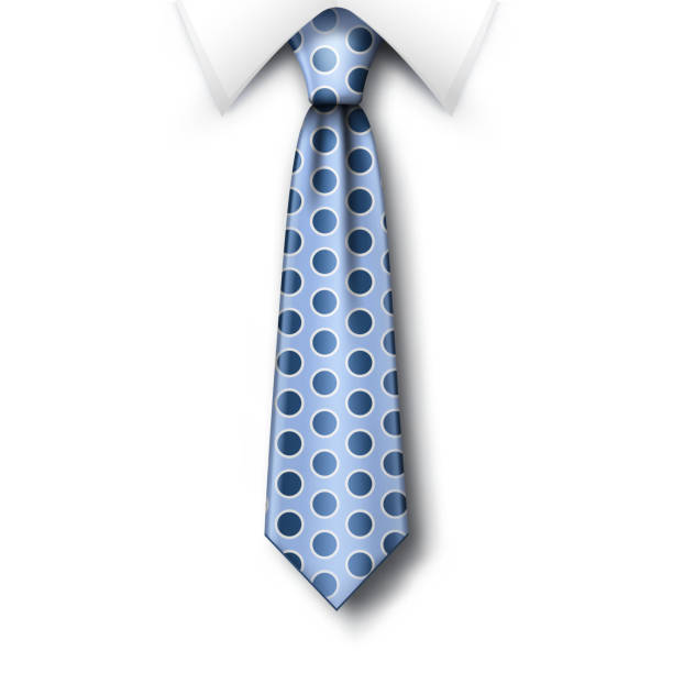 polka dots tie and white collar with soft shadow on white background. fathers day greeting card template with blue necktie - tie stock illustrations, clip art, cartoons, & icons