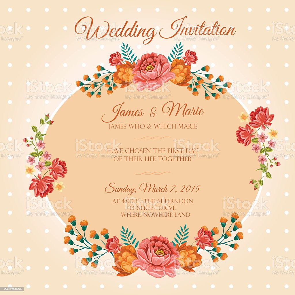 polkadot floral invitation stock vector art more images of
