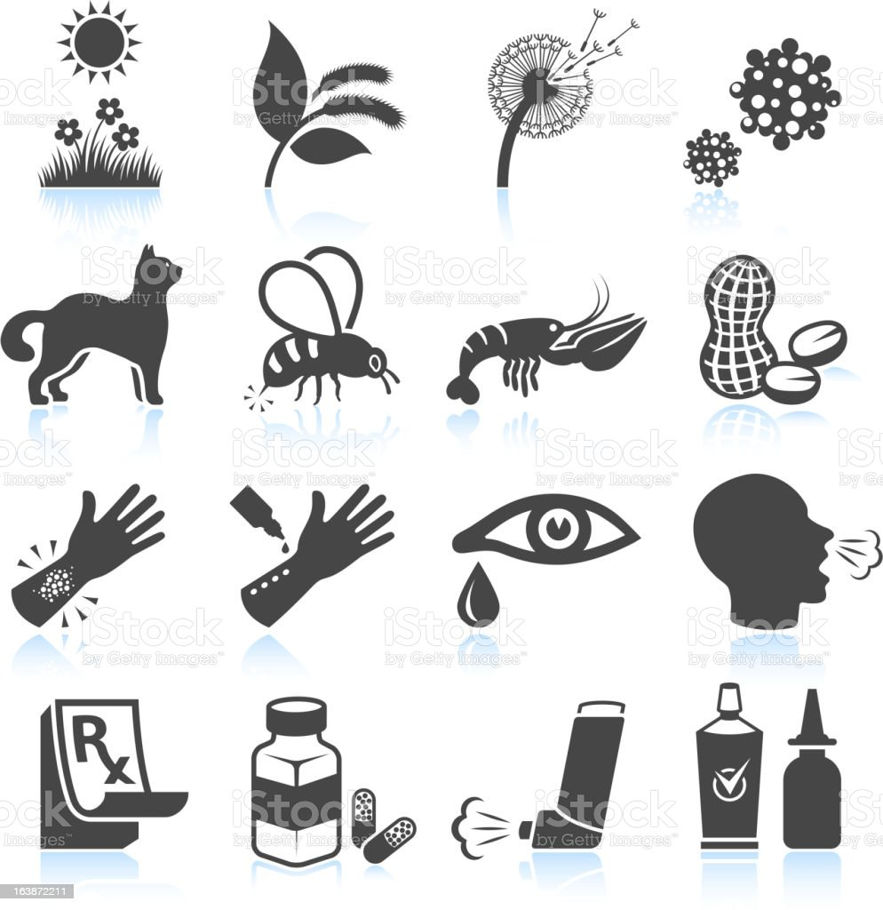 Pollen Nature and Food Allergies black & white icon set royalty-free pollen nature and food allergies black white icon set stock vector art & more images of allergy