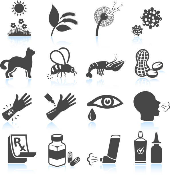 Pollen Nature and Food Allergies black & white icon set vector art illustration