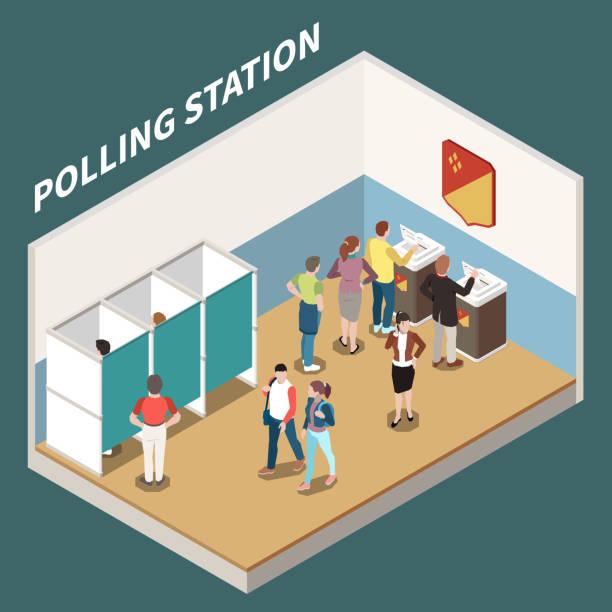 ilustraciones, imágenes clip art, dibujos animados e iconos de stock de antecedentes isométricos de las mesas electorales - polling place