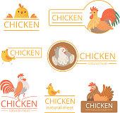 Pollo logo. Chicken illustrations for farm identity organic food meat of bird advertizing vector template