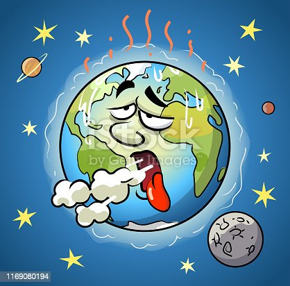 Vector illustration of a polluted sick planet Earth coughing. Concept for pollution, air pollution, climate change, greenhouse gases, carbon dioxide emissions, environmental damage and environmental conservation.