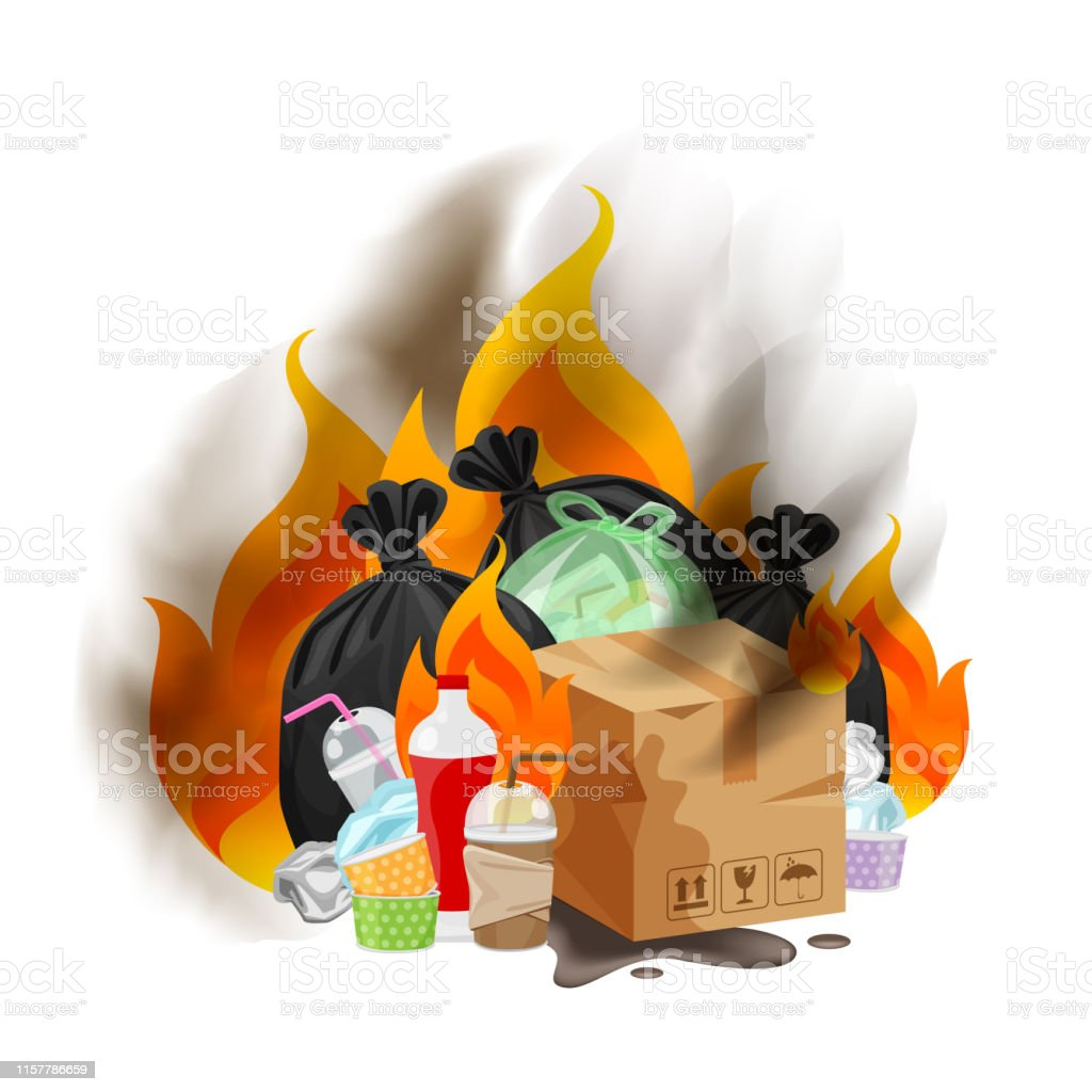 polluted of waste plastic incineration isolated on white, garbage waste disposal with burnt incinerate, fire flame garbage burning and smoke air pollution, fire smoke burn garbage waste plastic - Royalty-free Alterações climáticas arte vetorial