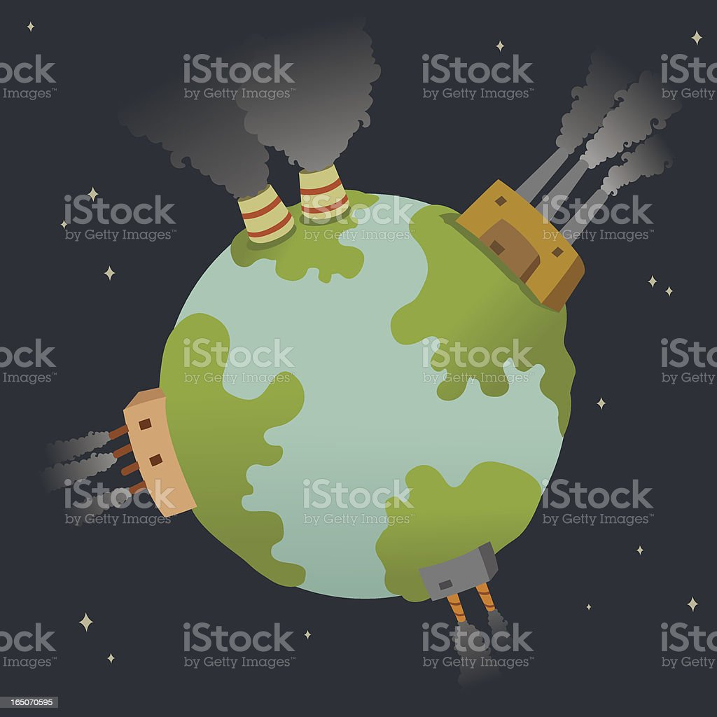 Polluted Planet vector art illustration