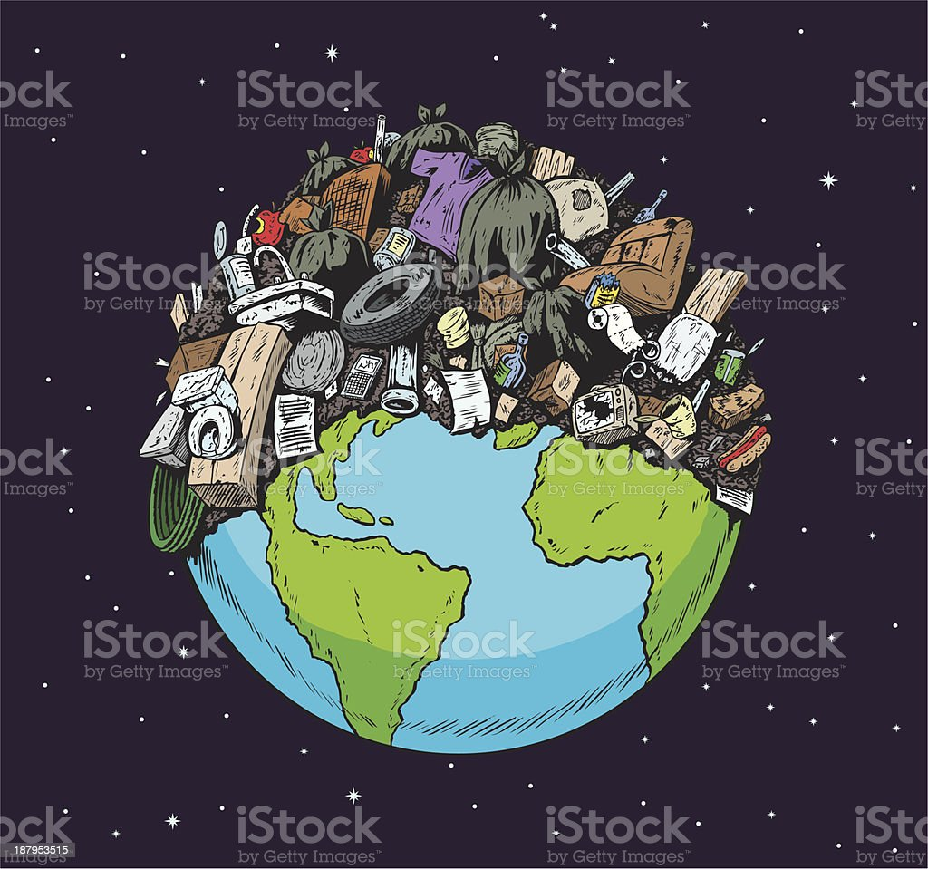 Polluted Planet royalty-free stock vector art