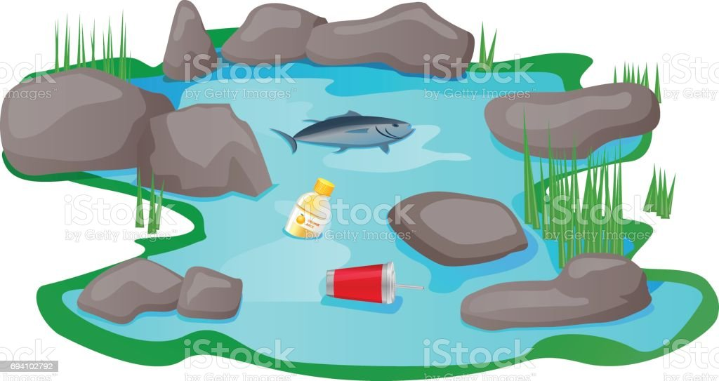 Polluted pond or lake vector vector art illustration