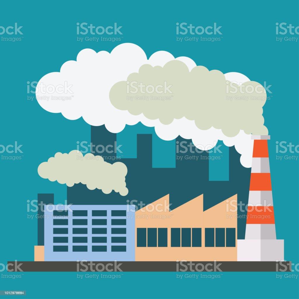 Ilustración de Contaminante Aire De Fábrica Tubería Y Pozo Negro Por ...