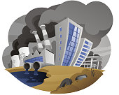 Polluting city with fume chimney factory plant drain waste pipe