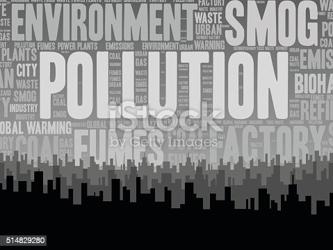 A nice word cloud will words related to pollution. All of which are hovering above a large, industrial city.