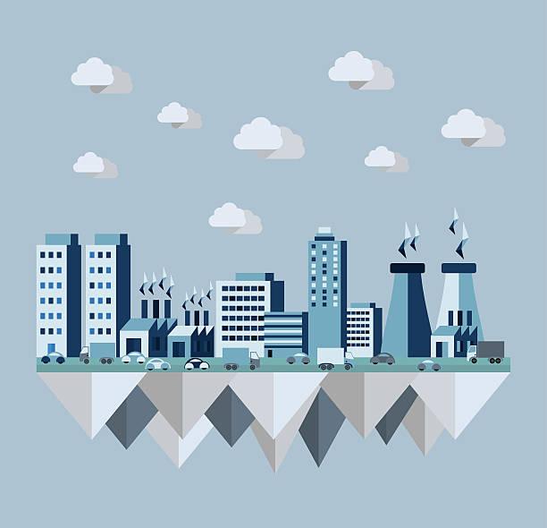bildbanksillustrationer, clip art samt tecknat material och ikoner med pollution city flat concept - data visualization co2
