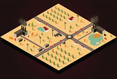A isometric city with trees and polluting factories.