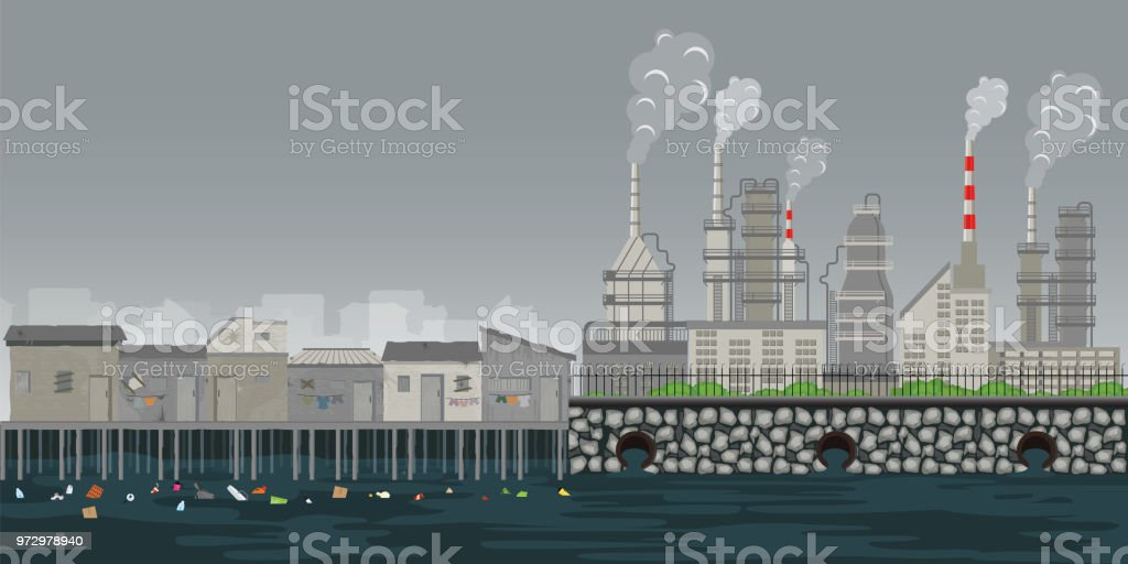 Pollution environment plant pipe dirty waste air and water polluted environment. vector art illustration