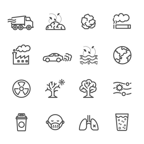 ilustraciones, imágenes clip art, dibujos animados e iconos de stock de contaminación icon set, vector de ilustración de iconos de línea fina para la contaminación contiene iconos como tierra, fábrica, aire, humo, desechos, basura, tráfico y otros - gas