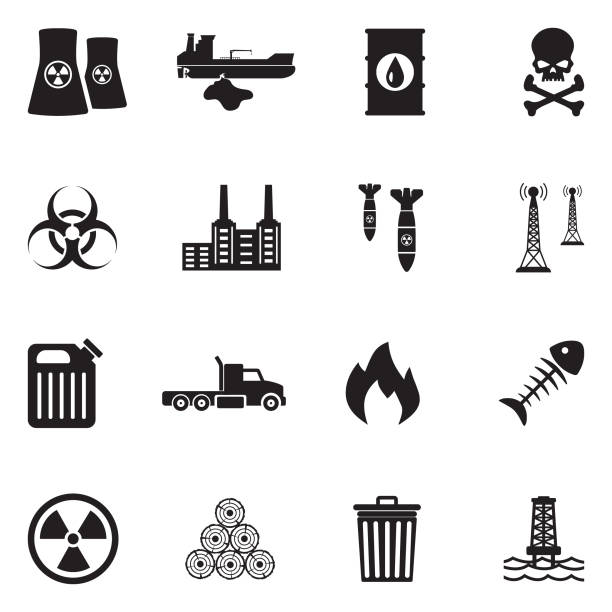 illustrazioni stock, clip art, cartoni animati e icone di tendenza di pollution icons. black flat design. vector illustration. - reattore nucleare