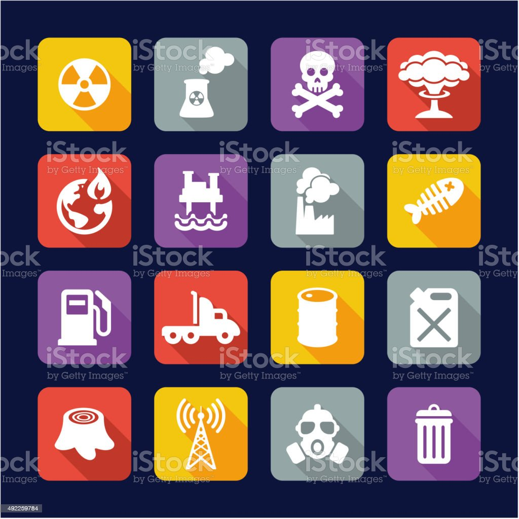 Pollution Icons Flat Design vector art illustration
