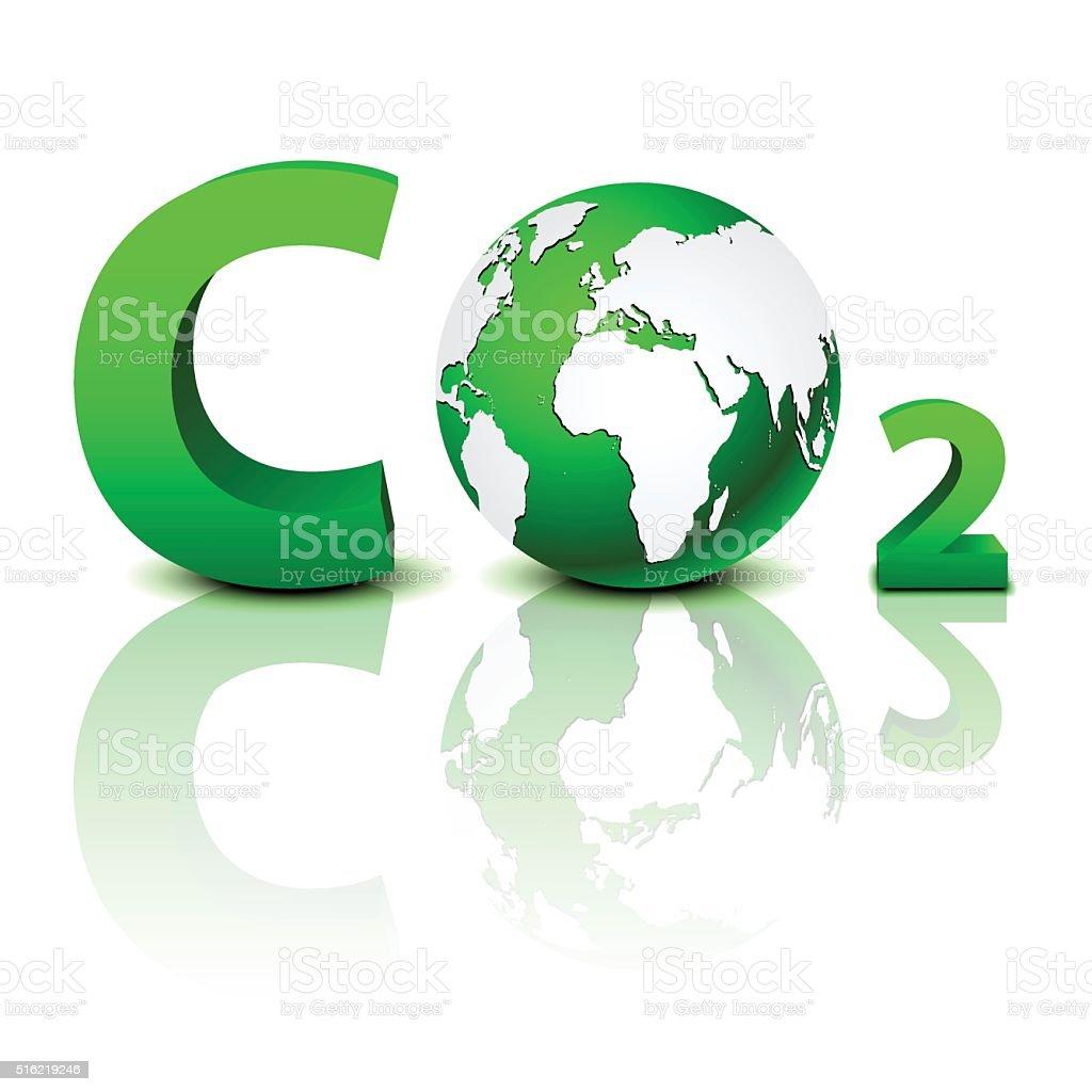 CO2 pollution in 3D vector art illustration