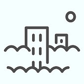 Pollution line icon. City with co2 emissions vector illustration isolated on white. Town in smog outline style design, designed for web and app. Eps 10