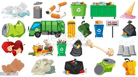 Pollution, litter, rubbish and trash objects isolated illustration