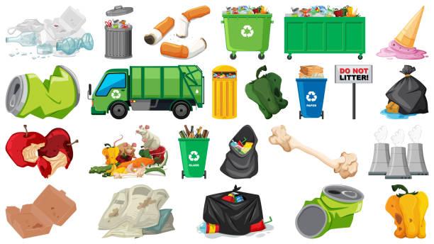 illustrations, cliparts, dessins animés et icônes de pollution, déchets, déchets et objets poubelles isolés - dechets