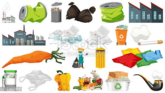 istock Pollution, litter, rubbish and trash objects isolated 1171472312