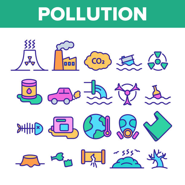 Pollution of Environment Vector Color Line Icons Set Pollution of Environment Vector Thin Line Icons Set. Air, Water, Soil Pollution Problems Linear Pictograms. Chemical Contamination, Gas Emissions, Deforestation, Global Warming Contour Illustrations plastic pollution stock illustrations