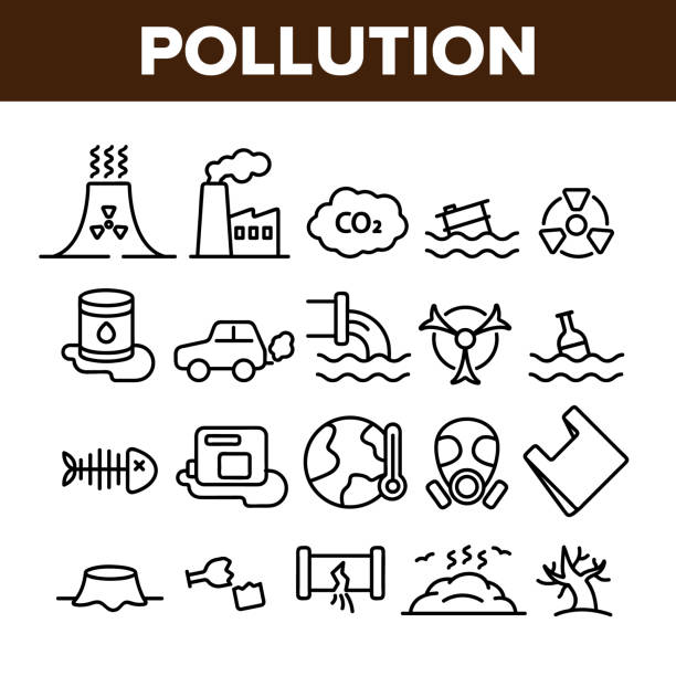 Pollution of Environment Vector Thin Line Icons Set Pollution of Environment Vector Thin Line Icons Set. Air, Water, Soil Pollution Problems Linear Pictograms. Chemical Contamination, Gas Emissions, Deforestation, Global Warming Contour Illustrations plastic pollution stock illustrations