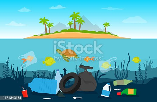 Pollution plastic garbage in underwater. Environmental disaster concept. Vector flat design.