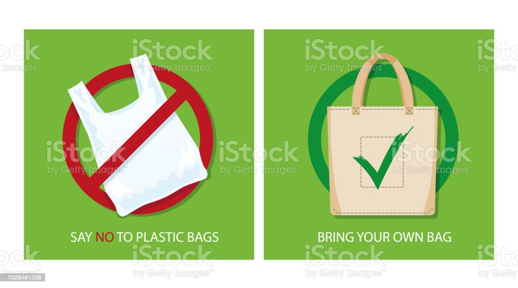 Pollution problem concept. Say no to plastic bags, bring your own textile bag. Cartoon styled images with signage calling for stop using disposable polythene package. Vector illustration. vector art illustration