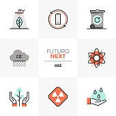 Modern flat icons set of global pollution, green nature conservation. Unique color flat graphics elements with stroke lines. Premium quality vector pictogram concept for web, logo, branding, infographics.