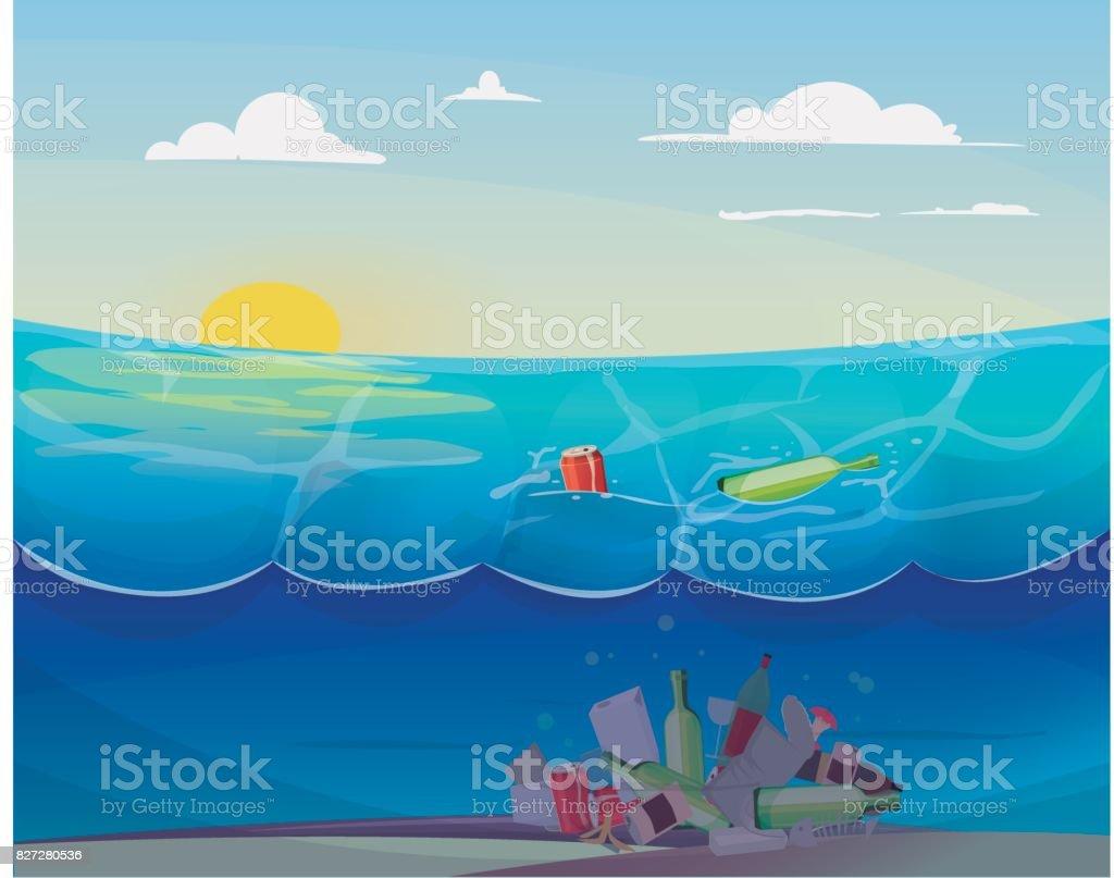 Pollution problem in the ocean vector art illustration