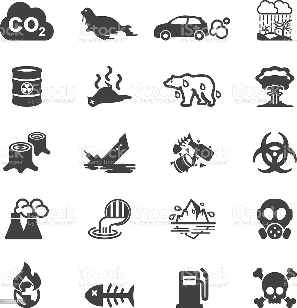 Pollution Silhouette Icons | EPS10 vector art illustration