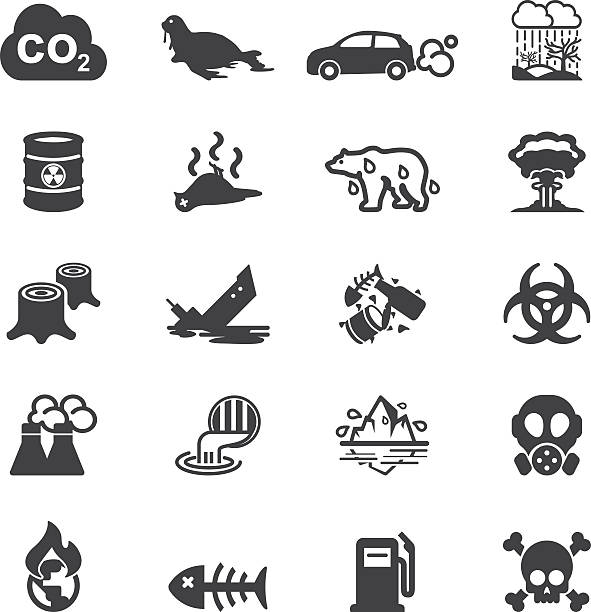pollution silhouette icons | eps10 - dead animal stock illustrations