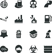 Pollution Silhouette Icons