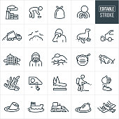 A set of pollution icons that include editable strokes or outlines using the EPS vector file. The icons include a factory with smoke stacks spewing out smoke, person picking up trash, garbage sack full of garbage, human lungs, garbage truck dumping garbage, landfill full of garbage, person covering his nose and mouth with a cloth, sea life with surrounding trash on the beach and in the water, car spewing out exhaust, business buildings surrounded by plumes of air pollution, person wearing hazmat suit, drought to represent climate change, dust mask, litter in the grass, person tossing garbage out car window, person spraying harmful chemicals, soda can floating in the water to represent water pollution, a barge and oil spill, a crop duster and other related icons.