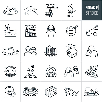 A set of air, water and waste pollution icons that include editable strokes or outlines using the EPS vector file. The icons include trash floating in the water, landfill full of garbage and waste, smoke stacks spewing smoke and air pollution, drain pipe with waste water, factory with smoke and pollution coming from smoke stacks, person in hazmat suit, dust mask, people wearing face mask, car exhaust, garbage truck dumping garbage, business buildings surrounded by air pollution, house with smoke coming out of the chimney, person covering face with cloth, earth engulfed in air pollution, people covering faces because of air pollution, gas mask, ocean with trash, traffic emitting exhaust into the air, litter and trash in the grass and other related icons.